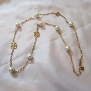 Tory Burch Evie Rosary Necklace Logo Pearls EUC